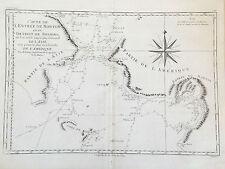 ESTRECHO DE BERING, Carta marina original, Bonne, 1787
