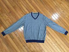 Bobby Jones Men's Blue V-Neck Golf Pullover Cotton / Cashmere Blend Size L