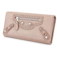 BALENCIAGA Purse Giant Continental pink beige leather Auth used T16824