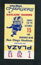 1968 AFL Ticket Stub San Diego Chargers Oakland Raiders American Football League