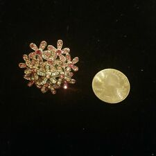 Vintage silver tone pink CZ or rhinestone Flowers Cocktail fashion Ring size 8