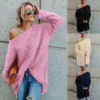 Women's Warm Sweater Long Sleeve Fleece Loose Winter Casual Jumper Pullover Tops