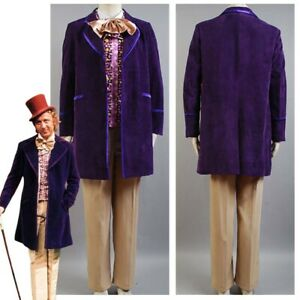 Charlie and the Chocolate Factory Gene Wilder Willy Wonka Cosplay Costume Outfit