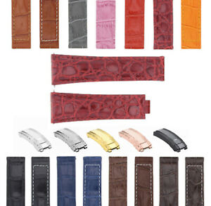 20MM LEATHER ALLIGATOR STRAP BAND BUCKLE CLASP FOR ROLEX DAYTONA 16520,116519