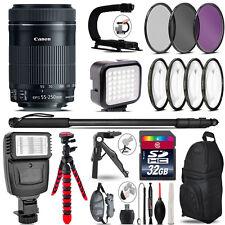 Canon 55-250mm IS STM -Video Kit + Slave Flash + Monopad - 32GB Accessory Bundle