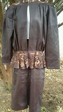 Elodia Brown Genuine Leather Skirt and Jacket Women's Size 8 Costume Soft Sequin