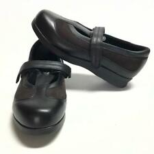 Drew Desiree Women 7.5 WIDE Mary Jane Comfort Shoes Leather Flat Black Brown NEW
