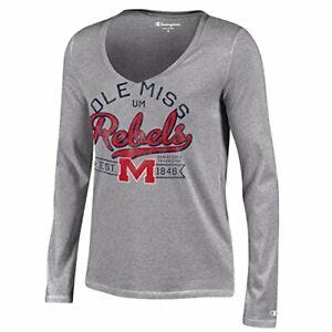 Champion NCAA Women's University Long Sleeve V-Neck T-Shirt, Gray, Medium