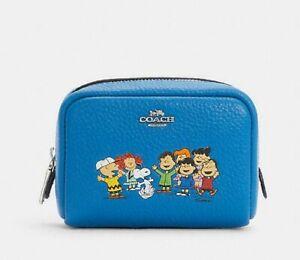 NWT Vivid Blue Coach x peanuts Mini boxy cosmetic case w/ snoopy friends Ltd Ed