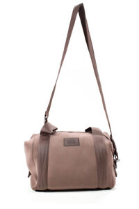 Dagne Dover Womens Neoprene Solid Duffle Style Large Satchel Handbag Brown