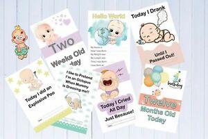 Alternative Baby Milestone Cards Pack of 33 Funny Milestones Unisex Baby Gift