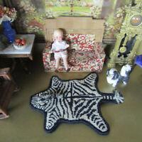 Dollhouse PETIT POINT WOOL ZEBRA ANIMAL RUG Miniature Needlepoint Artisan Artist