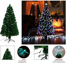 Fibre Optic Christmas Tree Xmas LED Lights Pre Lit Star Green Color Changing New
