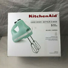 KITCHEN AID 5 Speed Hand Mixer Ice Blue New NWB Turbo Beater Baking Baker
