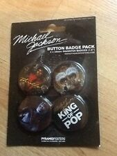 "Michael Jackson Button Badge Pack Set of 4 X 38MM / 1.5""  - New / Sealed"