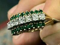 Gorgeous 2.85Ct Emerald & Diamond 14K Yellow Gold Finish Vintage Cluster Ring