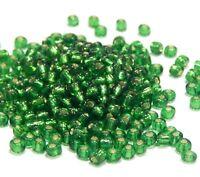 Glasperlen Rocailles 4mm 6/0 Tannen Grün Silbereinzug 450g Schmuck BEST A252