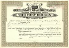 The New Edison - Certificate of Authenticity
