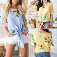 Women Short Sleeve Loose T-Shirt Tie Front Summer Casual Floral Blouse Top Shirt