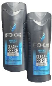 2x Axe Phoenix Clean Fresh Body Wash Crushed Mint And Rosemary Scent 16oz