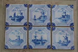 SET OF SIX OLD DELFT FIVE INCH TILES
