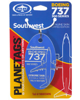 Southwest Airlines Boeing 737-3 Tail #N665WN Genuine Aluminum Plane Skin Bag Tag