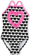 Brand New Love U Lots Black/White Hearts One Piece Swimsuit Upf 50+ Girls 12M