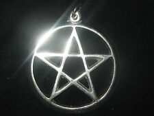 LARGE SILVER TONE 40MM PAGAN PENTAGRAM WICCAN 5 POINTED STAR  PENDANT NECKLACE