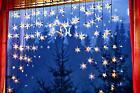LED Lichtervorhang Lichterkette Fenster Sterne Fensterdeko Weihnachtsbeleuchtung
