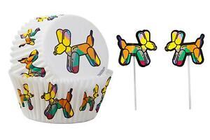 Wilton Balloon Dog Cupcake Case & Pick Combo 24 Count