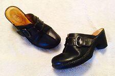 BORN Black LEATHER MULES SHOES CLOG SLIP ON HEELS B04803 Size 10 / 42
