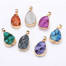 Natural Agate Crystal Stone Water Drop Pendant Necklace Quartz Charm Jewelry New