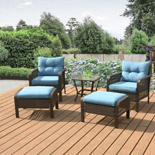 Outdoor Patio Furniture 5 PCS Rattan Sofa Wicker Chair Cushions Table Set Blue