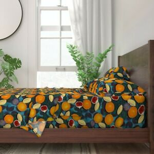 Fruit Maximalist Orange Fig Bold Retro 100% Cotton Sateen Sheet Set by Roostery