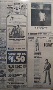 1974 Vintage Newspaper Movie Ads The Sting The Exorcist Walking Tall Tiny Little