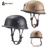DOT Motorcycle Biker Helmet German Style Skull Helmet Leather Half Face Helmet
