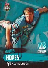✺Signed✺ 2015 2016 BRISBANE HEAT Cricket Card JAMES HOPES Big Bash League