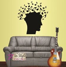 Vinyl Decal Head and Musical Notes Man Guy Music Shop Bedroom Wall Sticker 56