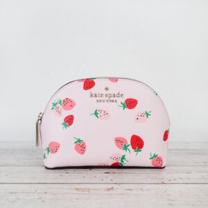 NWT Kate Spade Staci Wild Strawberries Small Dome Cosmetic Pouch Bag
