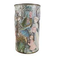 J L Clark Metal Tin Umbrella Holder Victorian Paper Mache Christmas Wastebasket