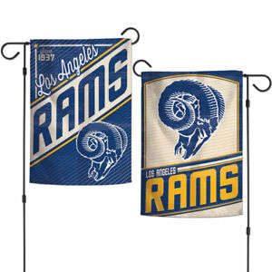 """LOS ANGELES LA RAMS DOUBLE SIDED RETRO GARDEN FLAG 12""""X18"""" BANNER NFL LICENSED"""