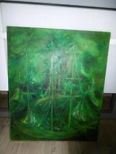 Ancienne peinture sur toile signé MS bateau navire sur fond vert tableau cadre