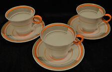 3 Petit~Shelley Coffee Cups & Saucers~Art Deco Orange Bands & Lines~c1933~#12132