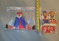 4 PC's Needlepoint Handmade Independence Day Decor