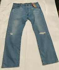 Levis 501 '93 Straight Stretch Distressed Wash Blue Jeans Size 38x32 button fly