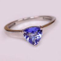 100% natürliche blaue Tansanit 1,45Ct Billion Form 585er Weißgold Verlobungsring