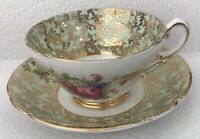 Vintage Stanley Floral Flowers Cup and Saucer Bone China England Gold Trim