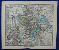 ANCIENT ROME CITY PLAN, original antique map, Justus Perthes, 1898