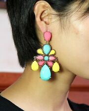 earrings Big Candlestick Multicolored Blue Yellow Coral Marriage XX 5
