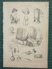 1890 PRINT ~ NURSERY APPLIANCES BREAST EXHAUSTER NIGHT LIGHT CASE OF BRONCHITIS